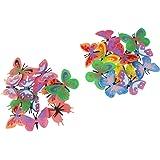 Lot de 12pcs Figurine Petit Papillon en Plastique Coloré Jouet pour Enfant