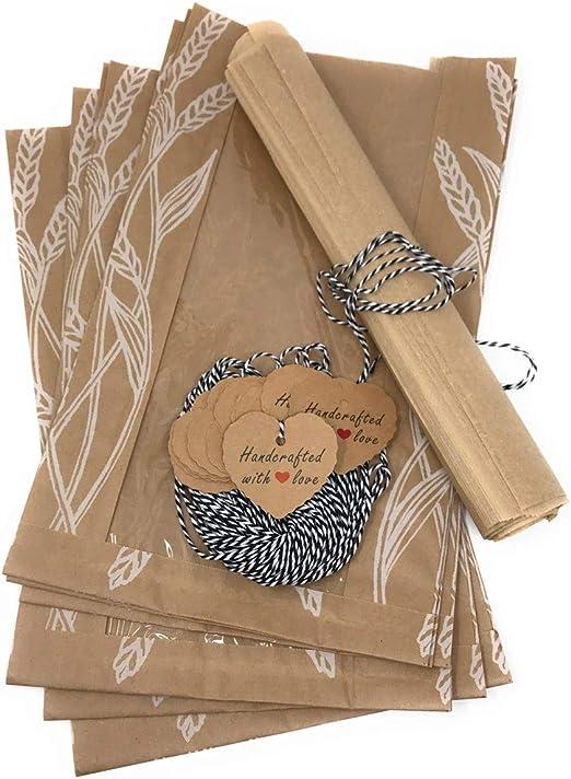Bag Good Baking Label Love Blank Brown Gift Paper Heart Shape Kraft Sticker