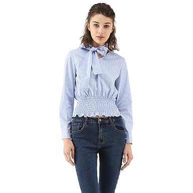 97ae5852e44e6 Chicwish Women s Trendy Blue Bow Striped Self-Tie Bowknot Top Blouse ...