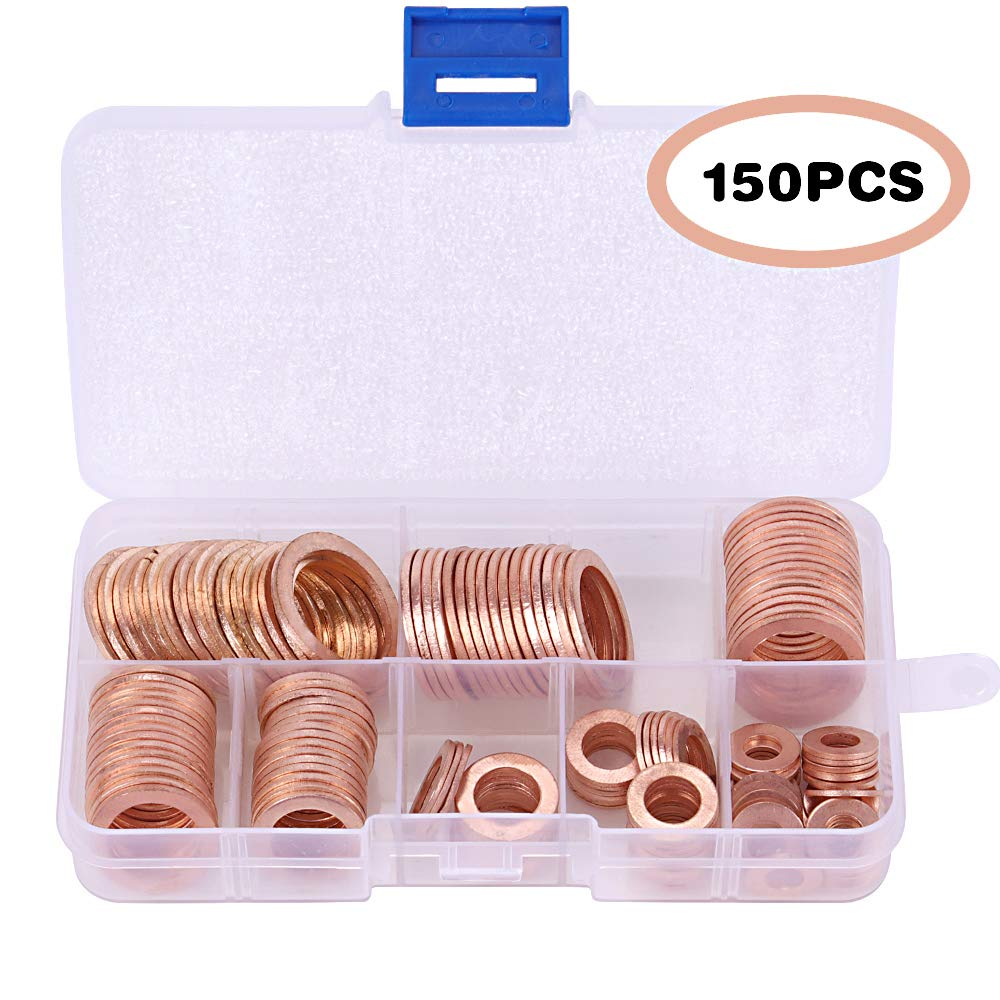 150Pcs Copper Gaskets with 8 Sizes, craftsman168 Metric Sealing Washers Assortment Set (M6 M8 M10 M12 M14 M16 M18 M20)