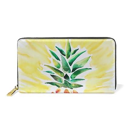 COOSUN Ananas Aquarelle Bourse Dembrayage En Cuir Carte A Long Portefeuille Porte Organisateur L