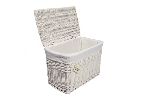 Merveilleux WoodLuv Medium Wicker Basket Storage Chest Trunk Hamper With Cloth Lining,  White
