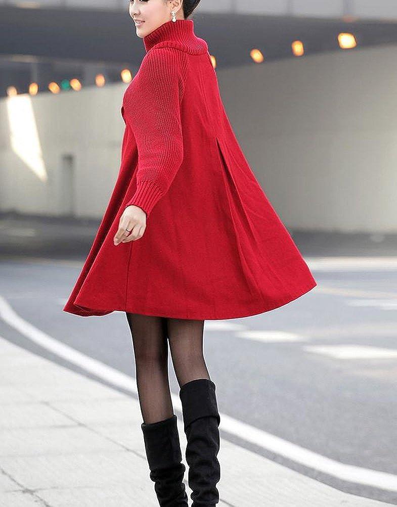 Damen Eleganter Langmantel Wasserfall Faux Wollmantel A Linie Trenchcoat Parka Wintermantel Langarm Outwear
