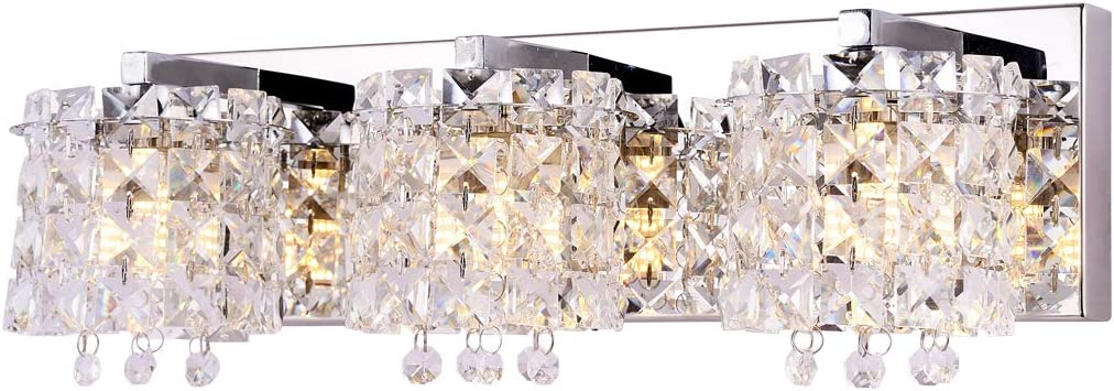 Vanity Light,Bathroom Light Fixtures,Wall Sconce with Crystal Drops,Polished Chrome Finish Bathroom Lighting, 3-Light Vanity Light Over Mirror