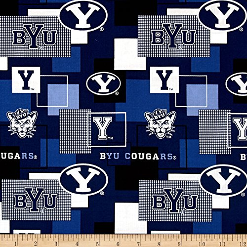 Sykel Enterprises Collegiate Cotton Broadcloth Brigham Young University Block Print Navy Fabric by The Yard, ()