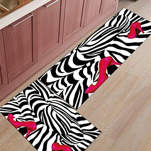 (YGUII 2 Piece Non-Slip Kitchen Mat Rubber Backing Doormat Runner Rug Set, Kids Area Rug Bedroom Rug The Beauty High Heel with Zebra 16X23.6in (40x60cm) and 16X47in (40x120cm))