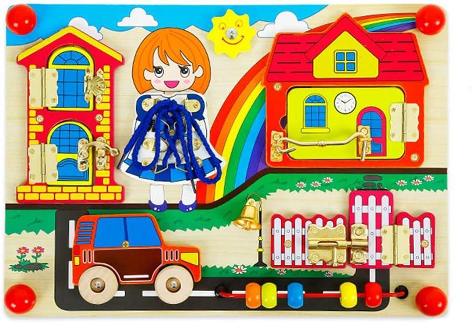 rompecabezas para niños de los niños de madera Cierres Junta Granja Ocultar Happy Family Qué hay detrás del regalo de la puerta para niños de 3 años
