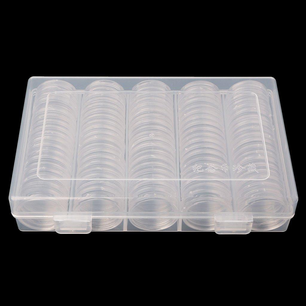 100/monedas Soporte c/ápsulas 27/mm Caja redonda pl/ástico coleccionistas Memoria Organizador