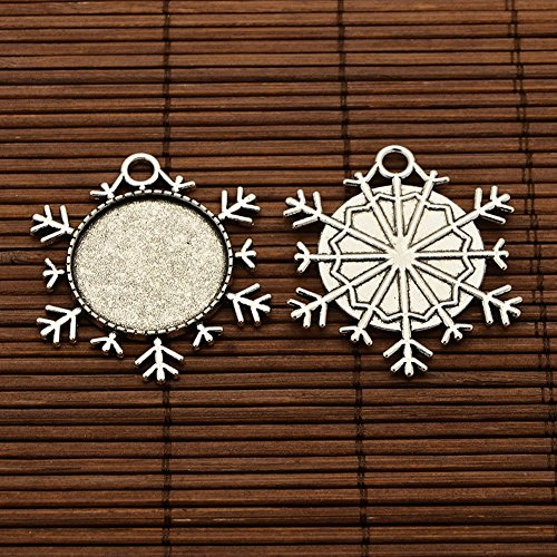 NBEADS 5 Set Alloy Snowflake Pendant and Glass Cabochons for Jewelry Making and Christmas Ornaments, Cabochon Settings, Antique Silver, 43x38x2mm