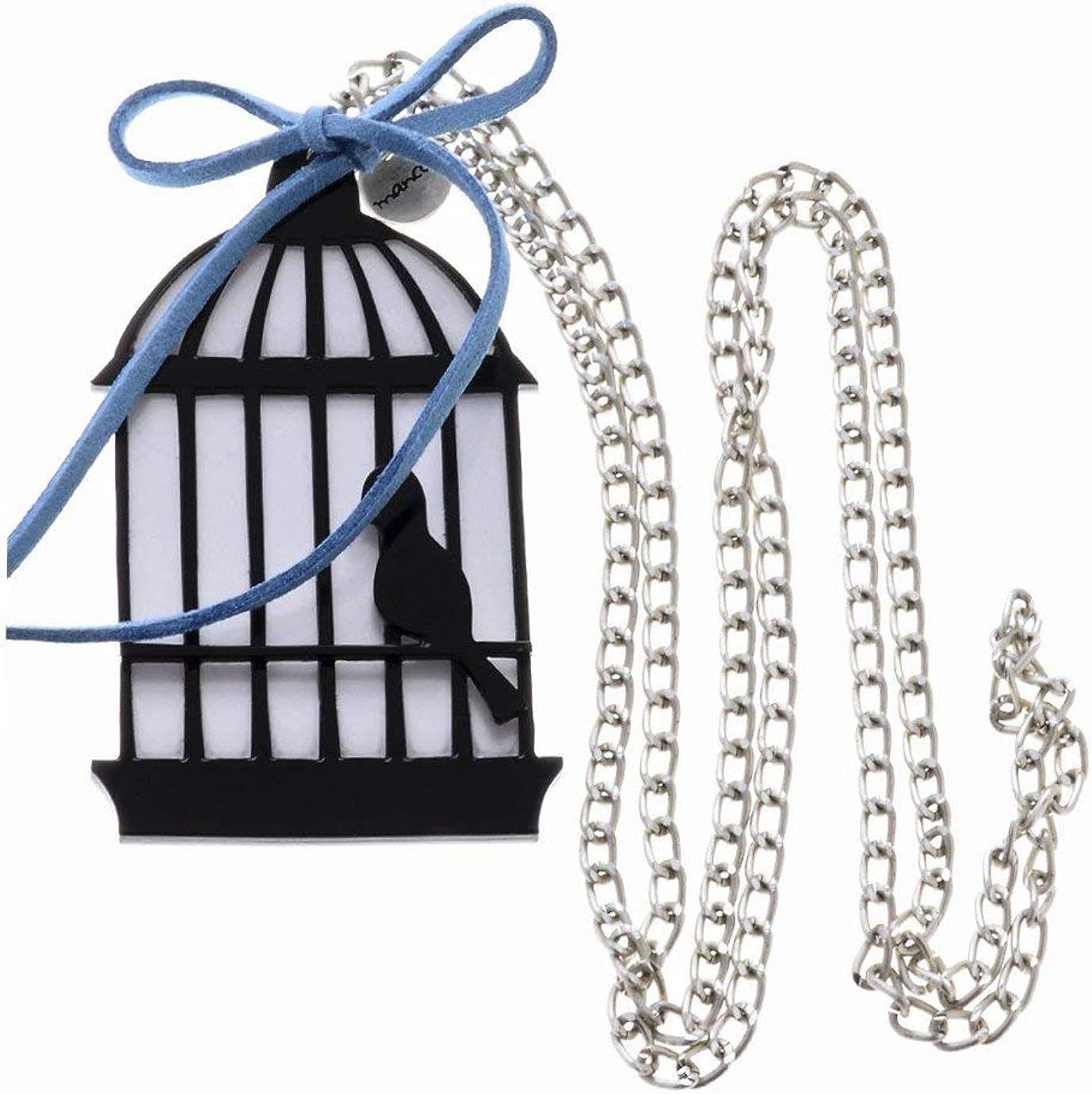 MANCOTI Bird CAGE Black Silver Chain Pendant