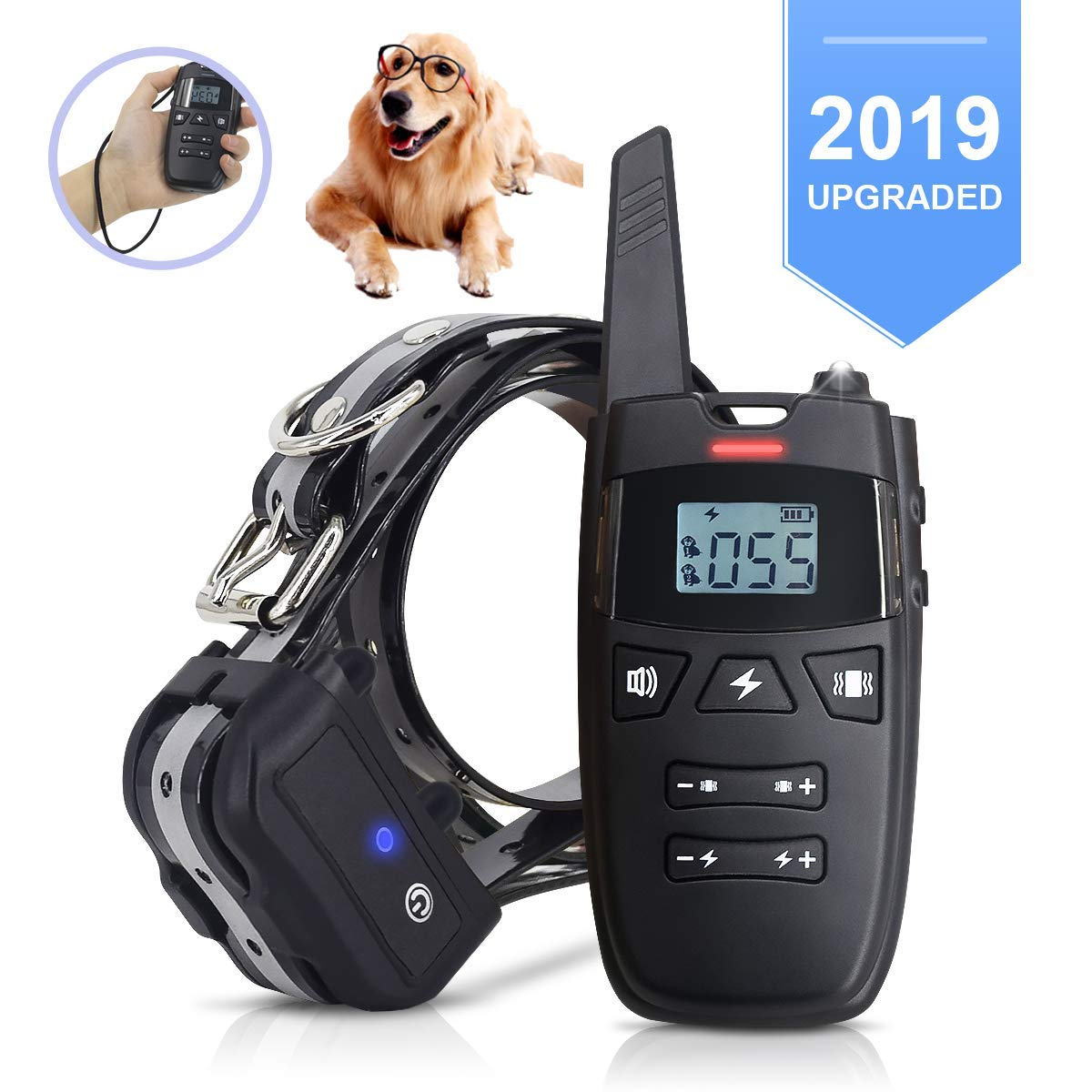 FRUITEAM Dog Training Collar with Light, 2019 New Rechargeable E-Collar with 3 Training Modes Beep, Vibration Shock, 1640 Ft Remote Range IP67 Waterproof Adjustable Dog Shock Collar for All Breeds