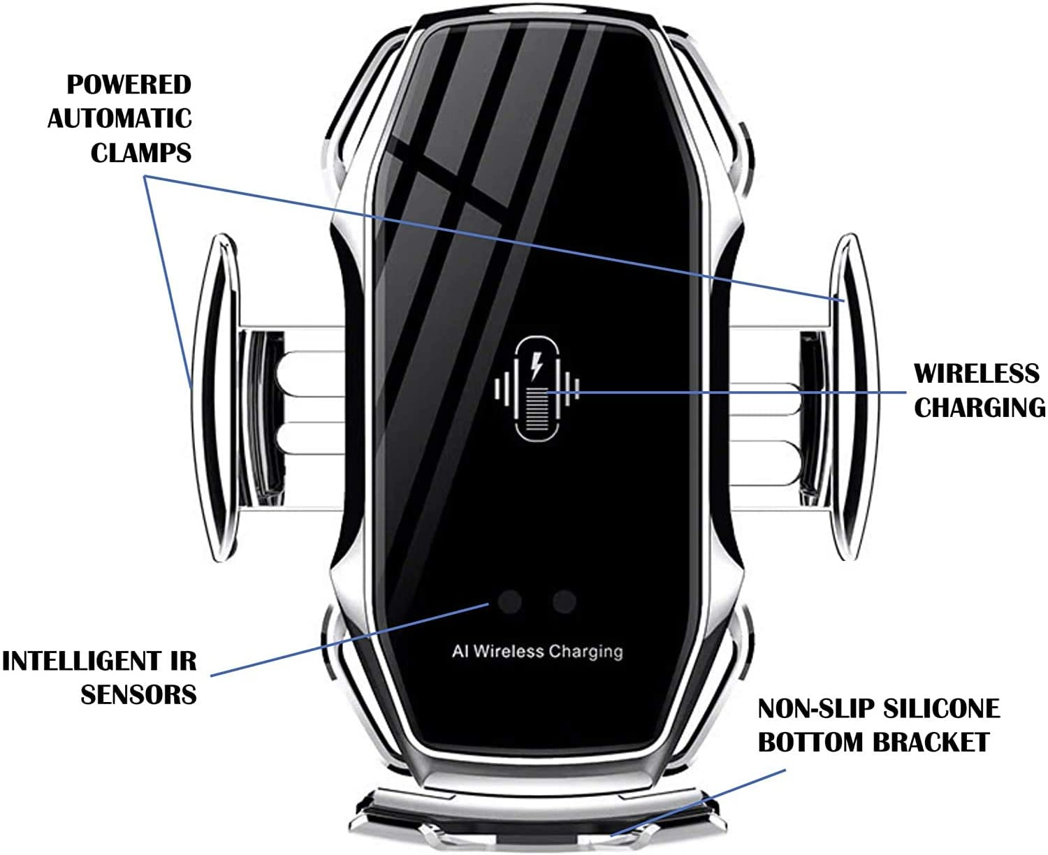 Silver Smart Sensor Wireless Car Charger New Model A5+,10W Qi Fast Charging etc. New Car Mount A5+ Wireless Charger Car Bracket Infrared Smart Sensor Charger for Samsung//Android//iPhone