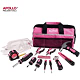 Apollo 23 Piece Pink Home Tool Kit including Safety Goggles and Gloves - in an Attractive Soft Storage Bag
