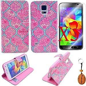 Protector de pantalla + llavero + Galaxy S5 funda cubierta, flor patrón diseño Premium PU cuero cartera manga con el titular de la tarjeta para Samsung Galaxy S5 SM-G900F caso