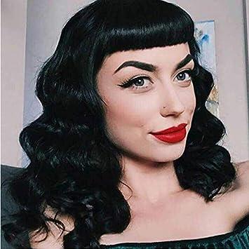 Perruque Vintage Audrey Hepburn Style Rockabilly Pour Femme Bonnet Inclus Noir Amazon Fr Beaute Et Parfum