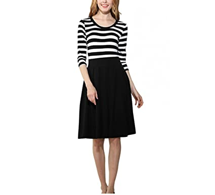 LOKOUO Women Slimming Clothing Autumn Casual Striped Bodycon Dress Striped Patchwork O-Neck Office Dresses