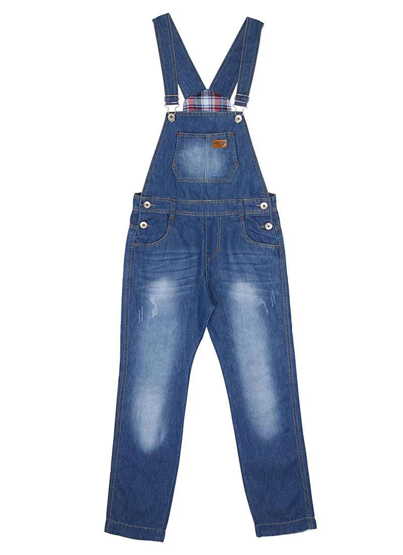 Children's Lightwash Denim Dungarees Boys Blue Slim Leg Overalls Age 6 8 10 12 KID048 Genius Star