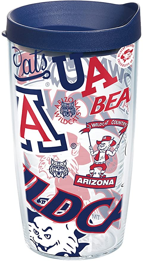 Tervis 1258255 Arizona Wildcats All Over Insulated Tumbler with Wrap and Navy Lid 16oz Clear