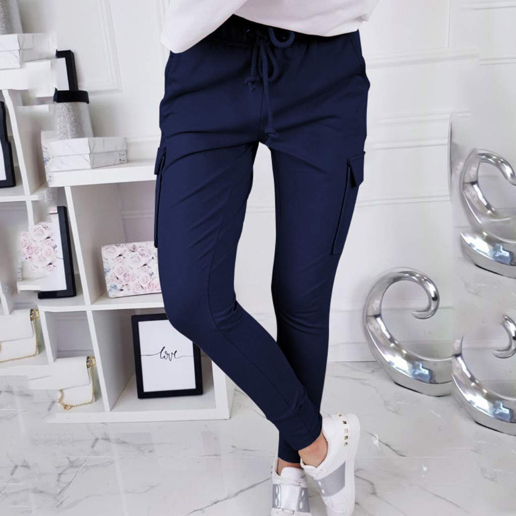LUXISDE Trousers for Women High Waisted Solid Streetwear Casual Loose Elastic Trousers Pockets Full Pants(Navy,M) by LUXISDE (Image #2)