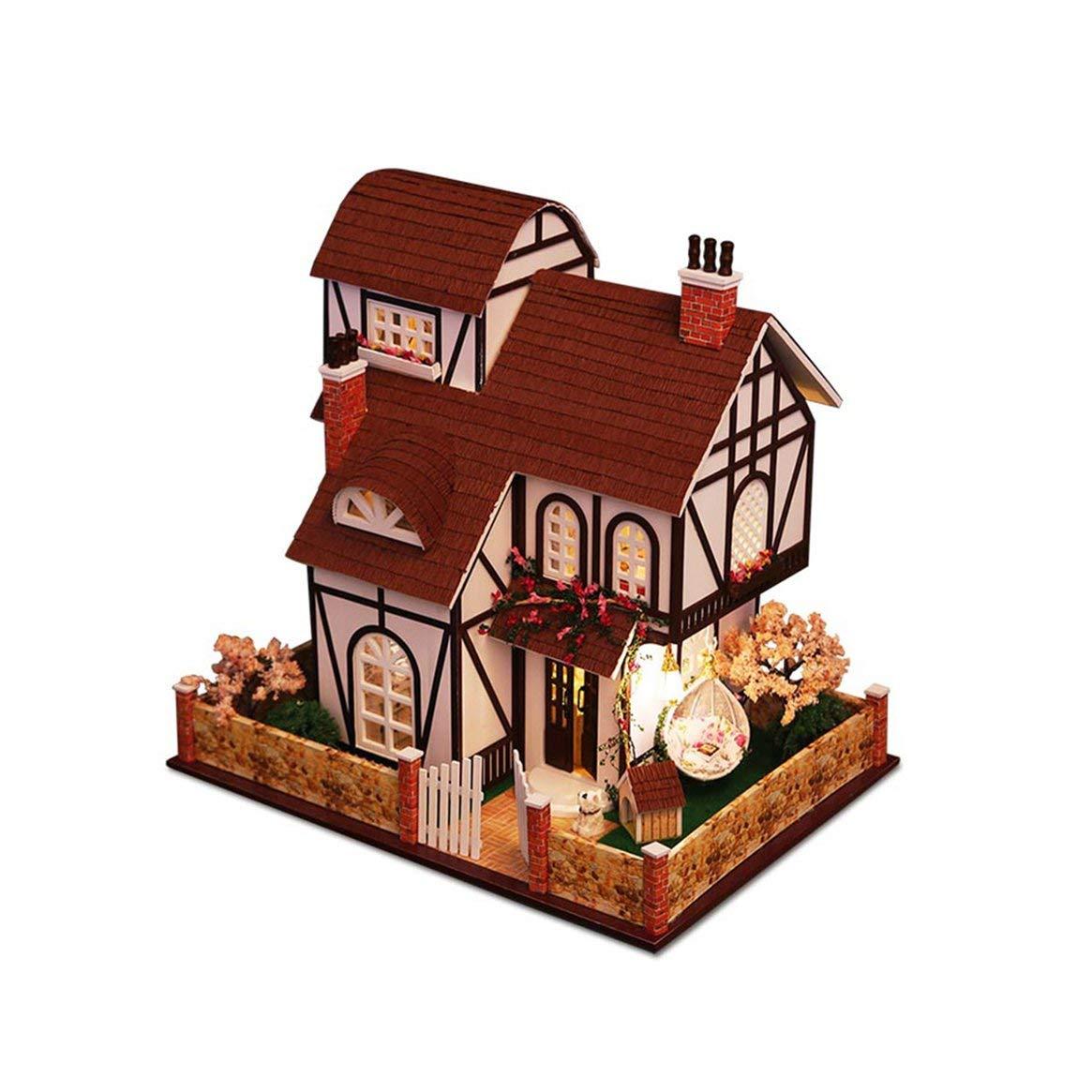 Delicacydex Kits Miniatura casa de muñecas DIY 3D Casa de muñecas de Madera de construcción de Modelos de Muebles Regalos Juguetes Niños cumpleaños de la Flor Town