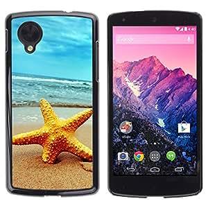 TopCaseStore / la caja del caucho duro de la cubierta de protección de la piel - Beach Starfish - LG Google Nexus 5 D820 D821