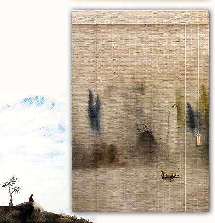 YANGJUN Persiana Estores De Bambú Enrollable Ventanas Filtrado De Luz Sombra Protector Solar Impresión HD Pintura De Paisaje Casa Sala De Te Habitación Retro Personalizable: Amazon.es: Hogar