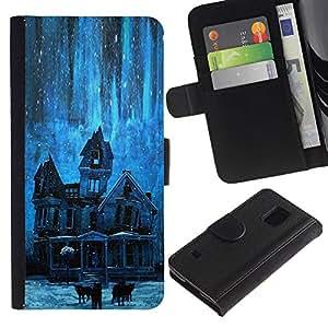 APlus Cases // Samsung Galaxy S5 V SM-G900 // Casa estrellas noche frecuentado espeluznante azul // Cuero PU Delgado caso Billetera cubierta Shell Armor Funda Case Cover Wallet Credit Card