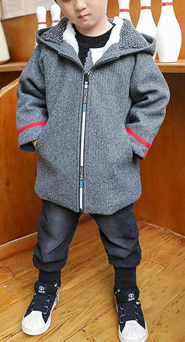 Cromoncent Boys Hoodie Fleece Coat Zipper Cartoon Warm Jacket
