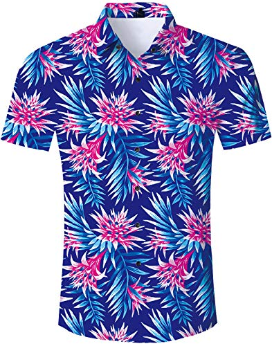 TUONROAD Adult Casual Youth Traditional Tropic Aloha Hawaiian Luau Shirt Tropical Theme Pink Flowers Turquoise Leaves Blue Weed Vintage Button Down Shirt Short Sleeve Shirt Vintage Hawaiian Shirts