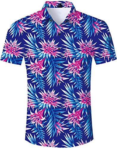 - TUONROAD Men Casual Tropical Vacation Aloha Short Sleeve Hawaiian Shirt Dark Blue Rose Pink Tropical Jungle Floral Printed Pattern Button Down Shirt Hawaiian Clothes