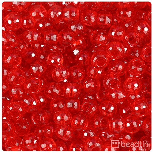 Faceted Barrel - BeadTin Ruby Transparent 9mm Faceted Barrel Pony Beads (500pcs)