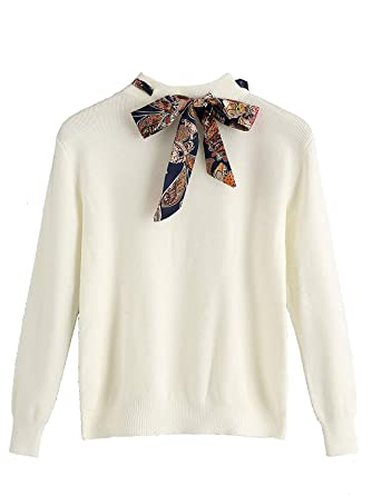 4dc1ade343 Milumia Women Winter Sweaters Basic Bow Knot Collared Fall Solid Jumpers  White S