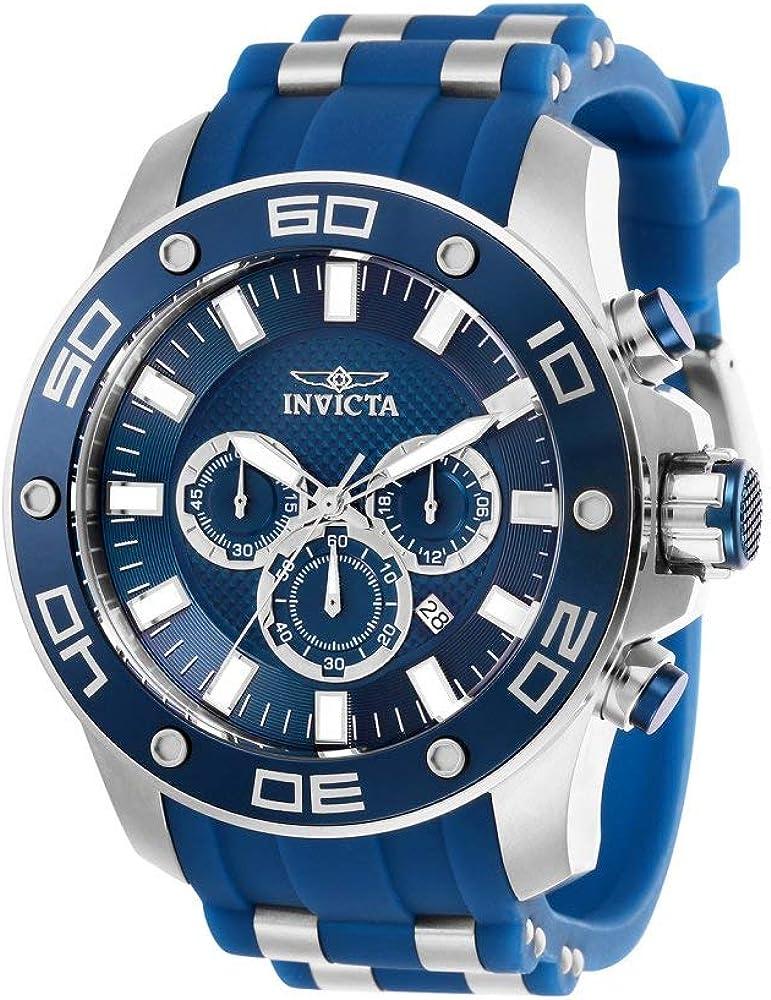 Invicta Men s Pro Diver Scuba Stainless Steel Quartz Watch with Silicone Strap, Blue, 26 Model 26085