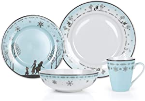 Robe Factory LLC Disney Frozen 2 Anna & Elsa Themed Dinnerware Dining Set | Official Disney Collectible Ceramic Display | Includes Plates, Bowls, and Mugs | 16-Piece Set