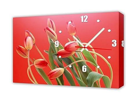 Orologi Da Parete In Tela : Creative light stile moderno tela salotto bella tulipani orologio