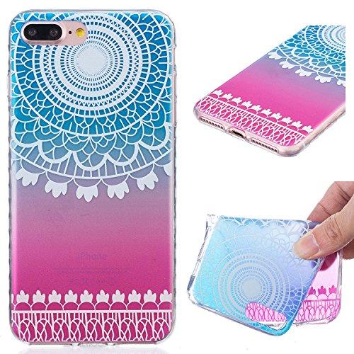 Für Apple iPhone 7 Plus (5,5 Zoll) Hülle ZeWoo® TPU Schutzhülle Silikon Tasche Case Cover - BF088 / Gradient Campanula