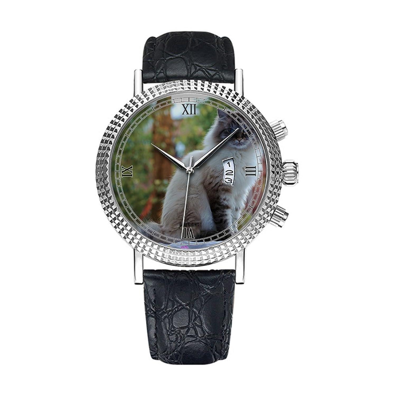 アナログクオーツ腕時計 – カレンダー日付シンクラシックカジュアルウォッチブラックレザーバンドLarge Face watches-personalityパターン080。猫、動物、猫、ペット、ふわふわ猫、ビュー B07DFHFLQW