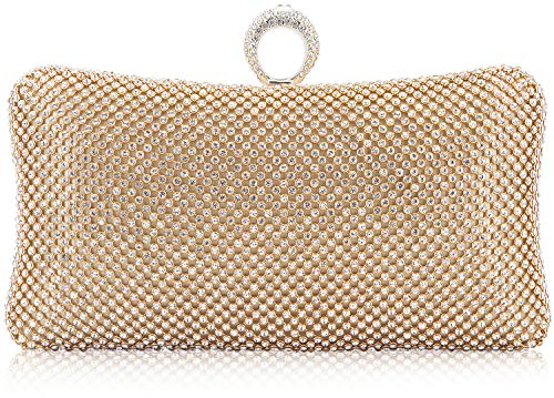 Dexmay Ring Rhinestone Crystal Clutch Purse Luxury Women Evening Bag for Bridal Wedding Party Gold
