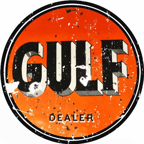 (Extra Large Reproduction Gulf Gasoline Motor Oil Sign)