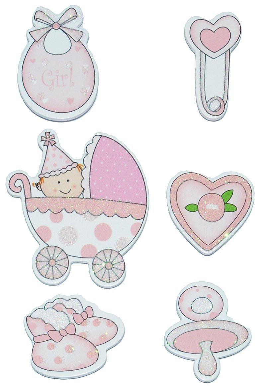 Unbekannt 12 tlg. Set Sticker / Aufkleber aus Holz - Baby mit Glitzer für Mädchen - Auch als Streumotiv - zur Geburt Kinderwagen Schnuller Babymotiv Taufe Babyschuhe Babys Rosa Kinder-land