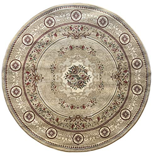 - Traditional Round Aubusson Oriental 500,000 Point Area Rug Beige Green Burgundy Ivory Floral Persian Design 403 (5 Feet 3 Inch X 5 Feet 3 Inch)