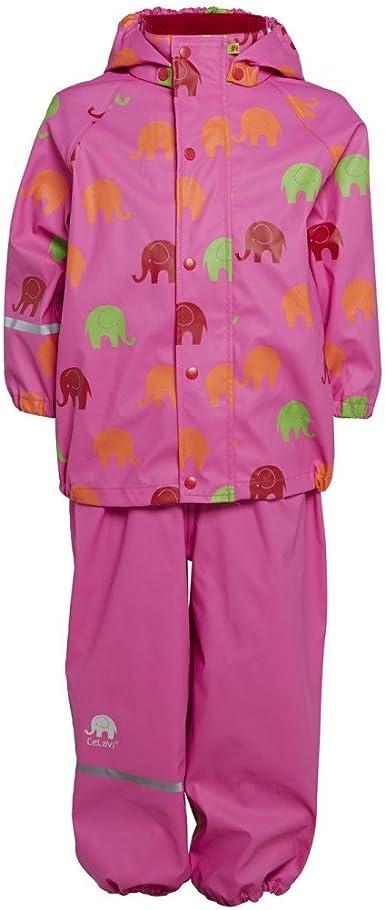 Alter 8-9 Jahre 1372 Celavi Kinder Unisex Regen Anzug mit Elefanten Aufdruck Gr/ö/ße: 130 Jacke und Hose Farbe: Schwarz und Gelb