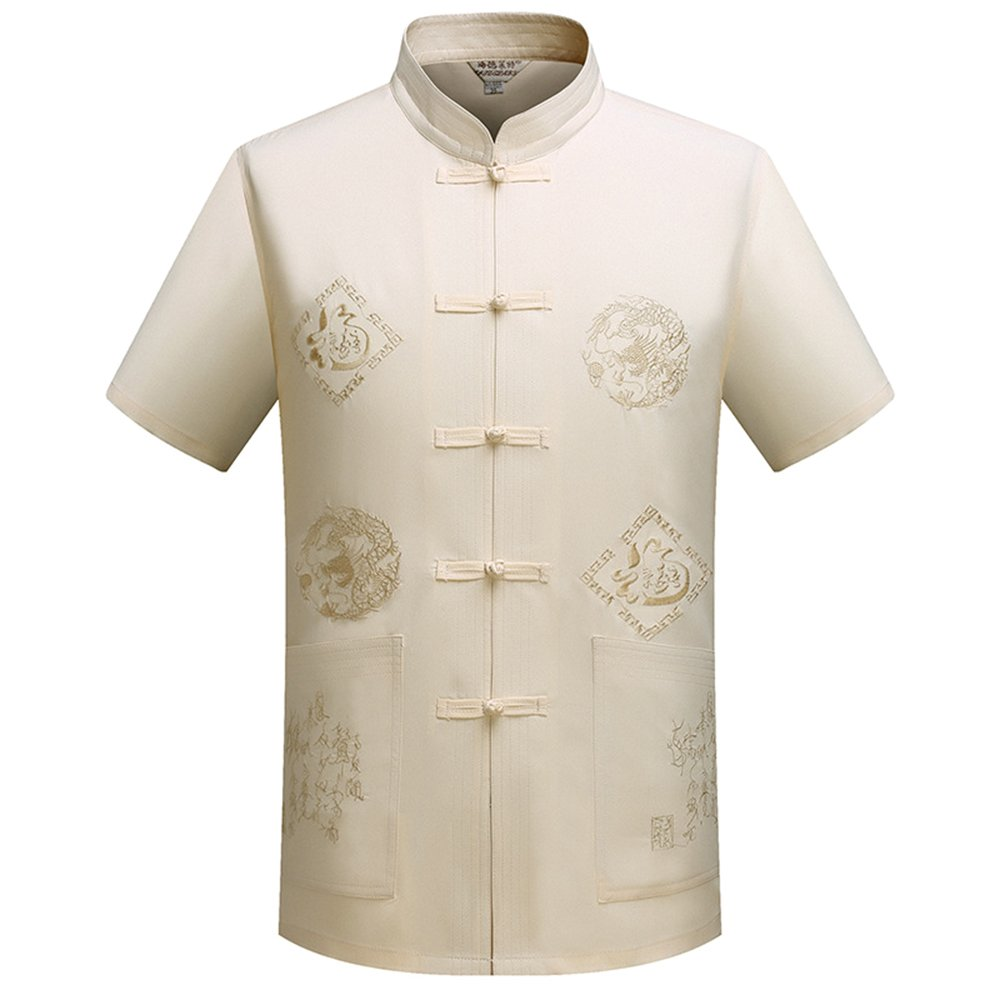 KINDOYO Manches courtes traditionnelles chinoises avec Dragon Design Tang Costume Tai Chi Shirt Kung Fu Uniforme