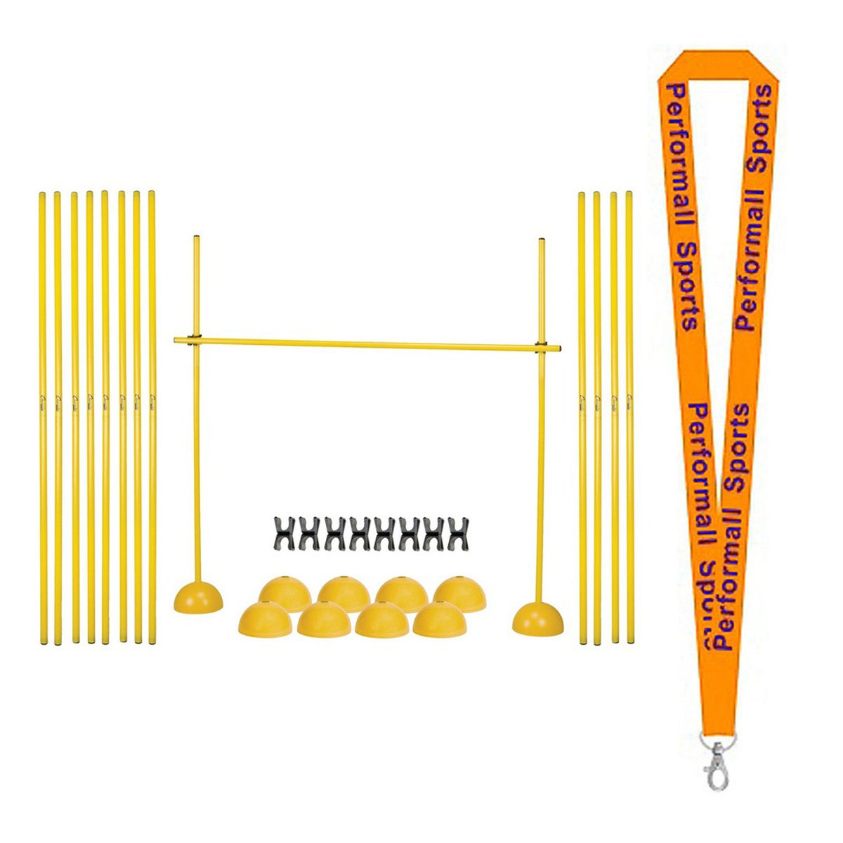 Champion Sports Agility Hurdle Set Yellow with 1 Performall Lanyard PLYOHRSET-1P by Performall Sports Speed Agility Training
