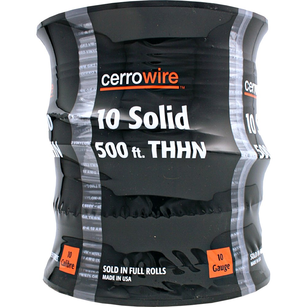 Cerro 112-1871J 500-Feet 10-Gauge Solid THHN, Black