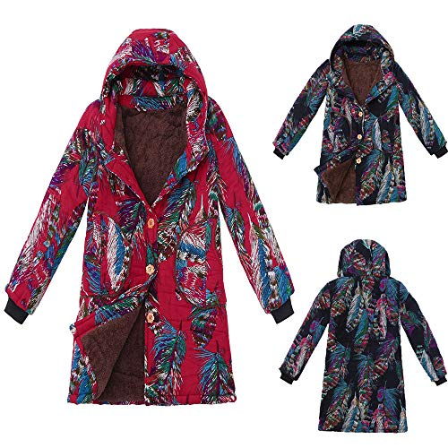 Manteaux et à vestes poches d'hiver bleu Elecenty floral à capuchon femmes chaud Invernal pour imprimé manteau rarBARP