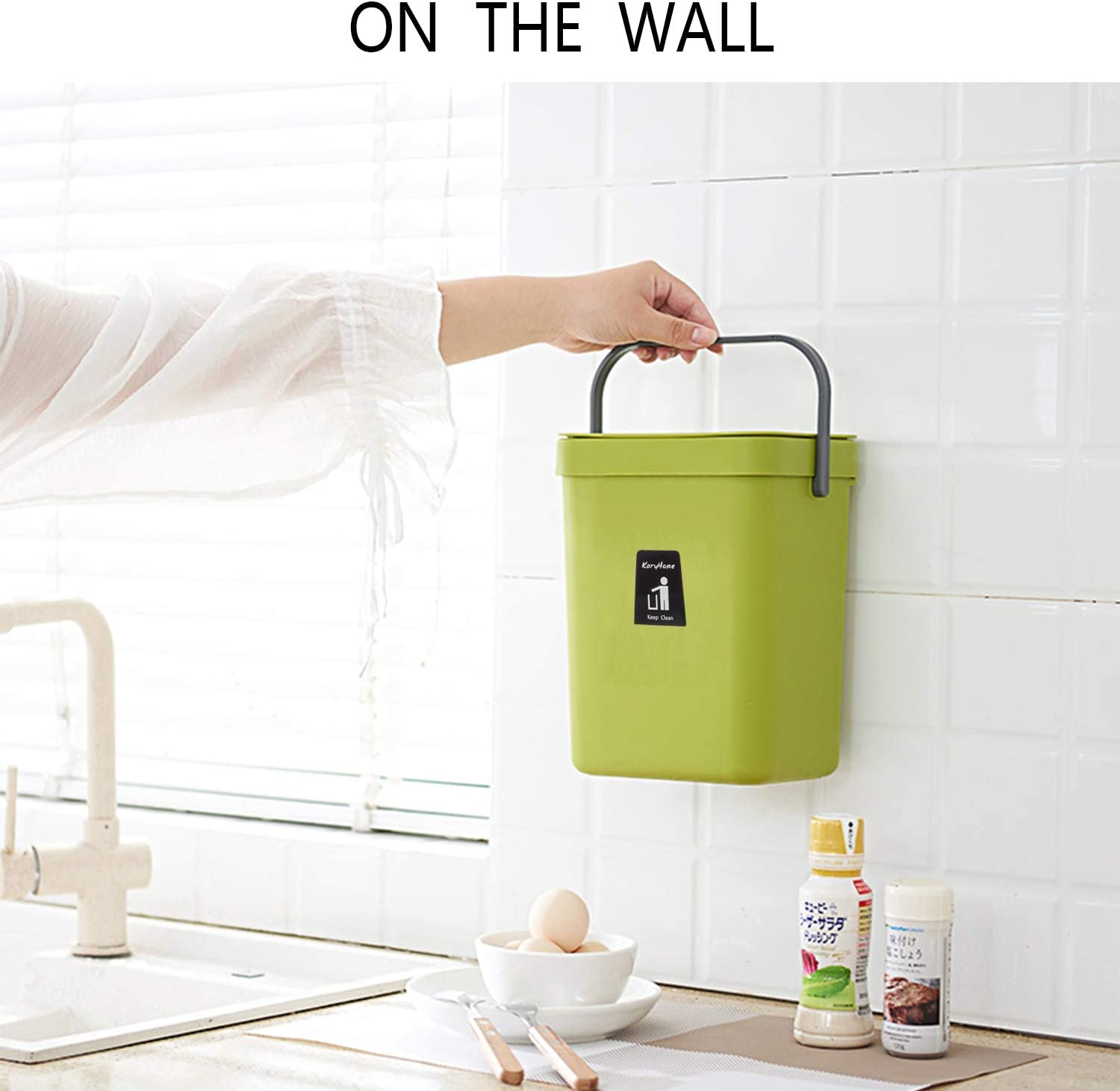 green KaryHome Kitchen Compost Bin for Counter Top Hanging Small Trash Can with Lid Under Sink for Kitchen Bathroom,Mountable Compost Bucket