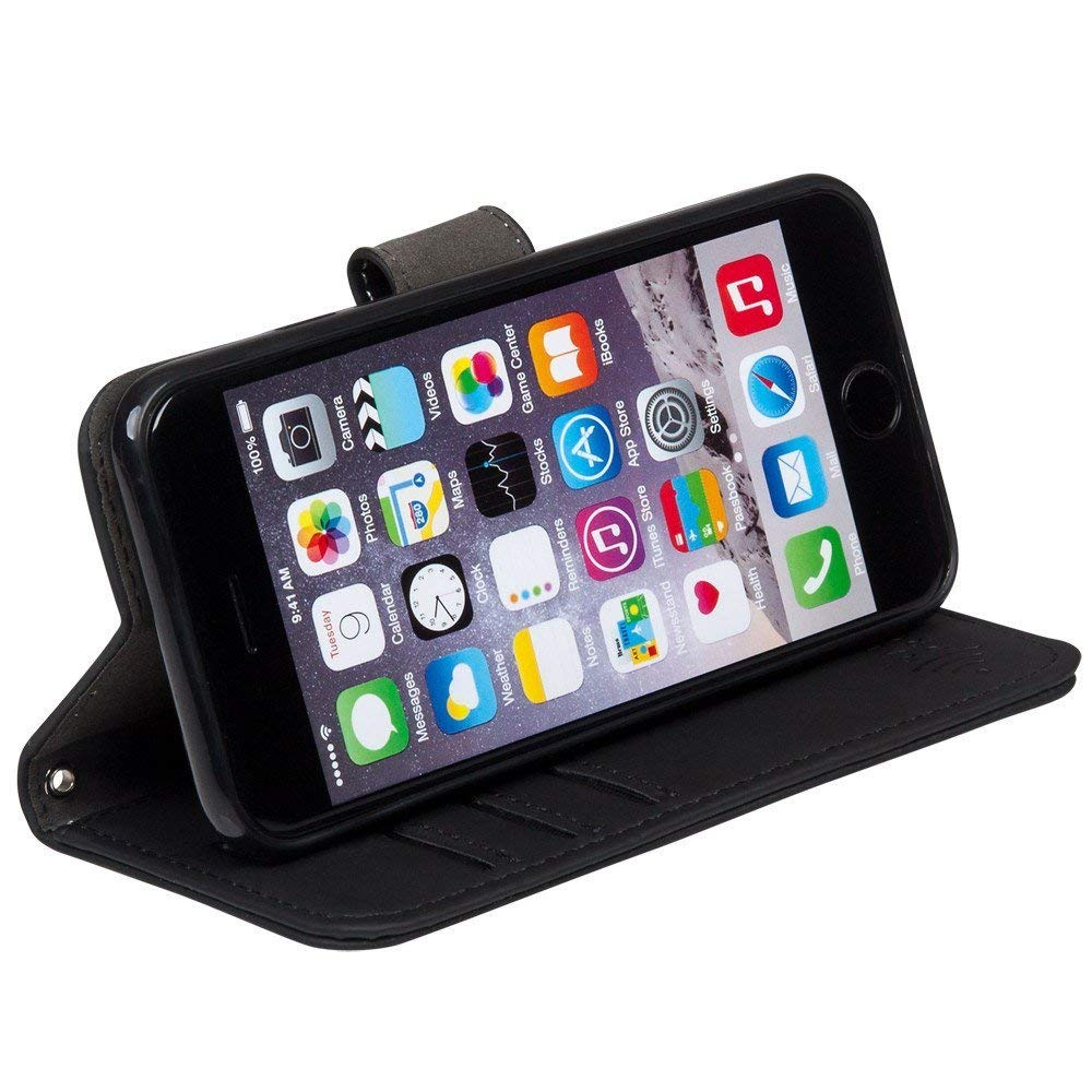 quality design 60268 2f76c SafeSleeve 7+Blk Anti Radiation RFID Case for iPhone 7 Plus/8 Plus ELF and  RF Blocking Identity Theft Protection Wallet - Black