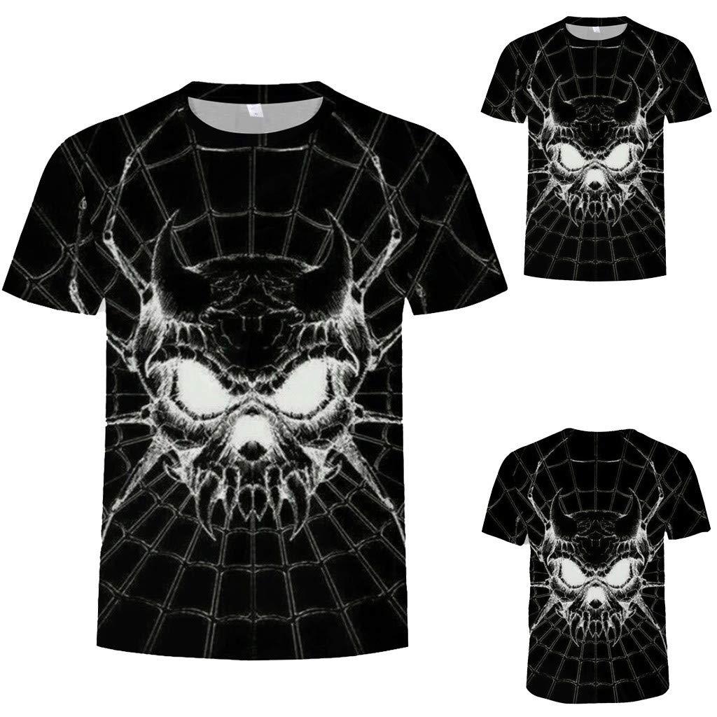 Pervobs Newest Mens Fashion 3D Print Splicing Short Sleeve T-Shirt Crew Neck Basic Causal Tee Shirts Blouse Tops (XL, BlackA) by Pervobs Mens T-Shirts (Image #3)