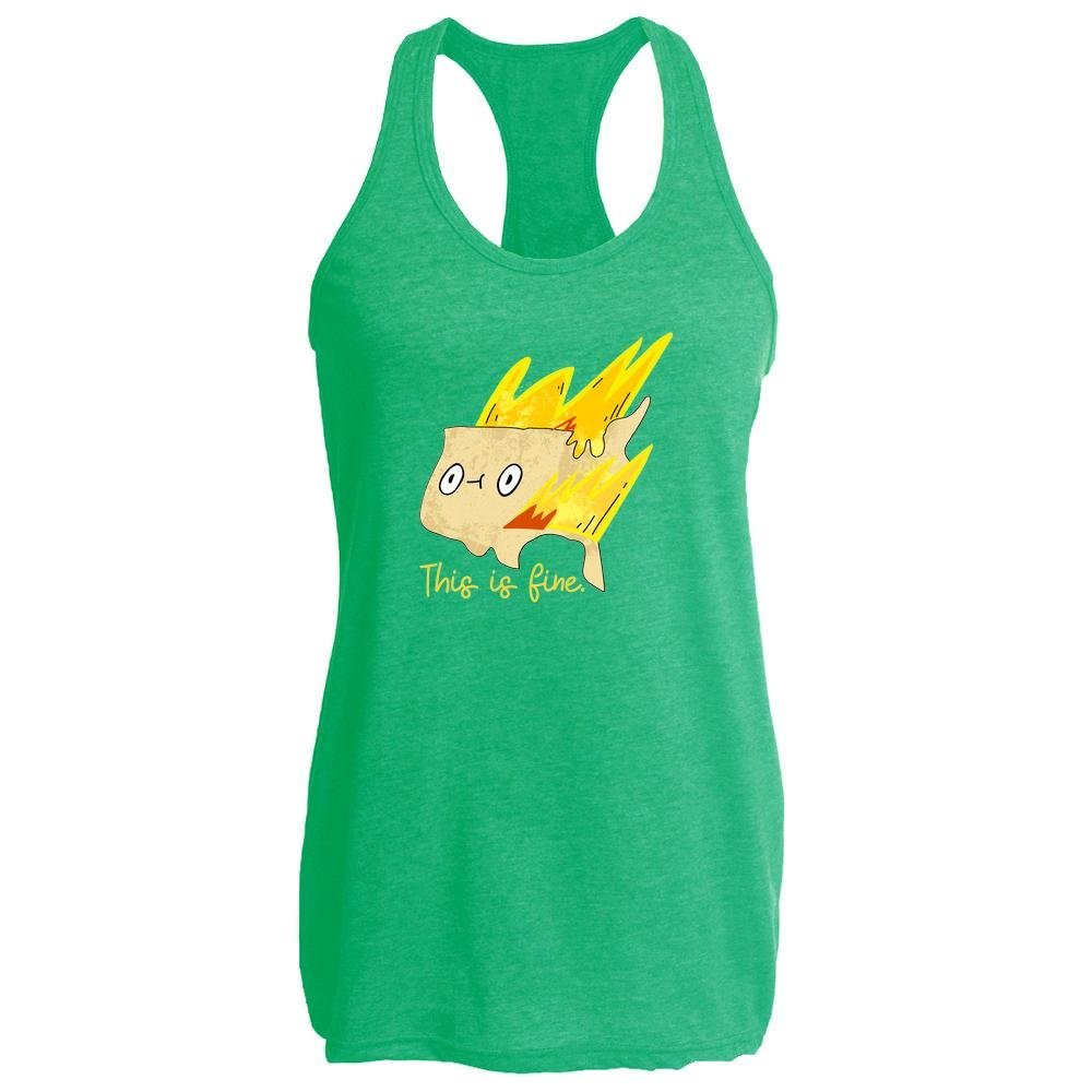 This Is Fine America on Fire Funny Heather Kelly 2XL Womens Tank Top